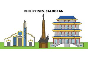 Philippines, Caloocan. City skyline, architecture, buildings, streets, silhouette, landscape, panorama, landmarks. Editable strokes. Flat design line vector illustration concept. Isolated icons
