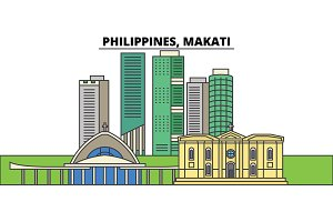 Philippines, Makati. City skyline, architecture, buildings, streets, silhouette, landscape, panorama, landmarks. Editable strokes. Flat design line vector illustration concept. Isolated icons