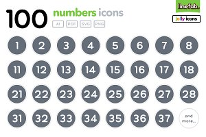 100 Numbers Icons - Jolly - Grey