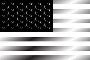 American flag silver black