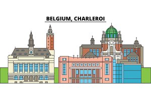 Belgium, Charleroi. City skyline, architecture, buildings, streets, silhouette, landscape, panorama, landmarks. Editable strokes. Flat design line vector illustration concept. Isolated icons