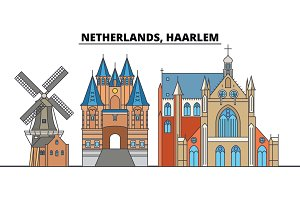 Netherlands, Haarlem. City skyline, architecture, buildings, streets, silhouette, landscape, panorama, landmarks. Editable strokes. Flat design line vector illustration concept. Isolated icons