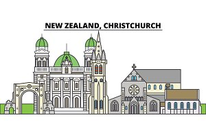 New Zealand, Christchurch. City skyline, architecture, buildings, streets, silhouette, landscape, panorama, landmarks. Editable strokes. Flat design line vector illustration concept. Isolated icons