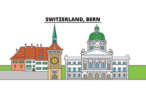 Switzerland, Bern. City skyline, architecture, buildings, streets, silhouette, landscape, panorama, landmarks. Editable strokes. Flat design line vector illustration concept. Isolated icons