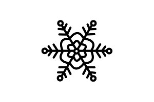 Web line icon. Snowflake black