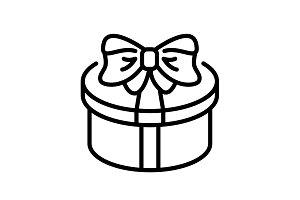 line icon. Present round box, gift