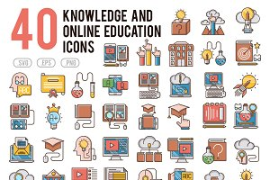 40 Knowledge and education icons