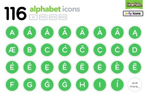 116 Alphabet Icons - Jolly - Green
