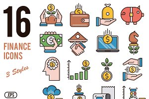 Finance vector icons set