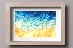 Watercolor Sea Wave Print