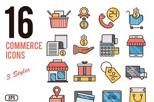 Commerce vector icons set