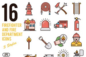 Firefighter vector icons set
