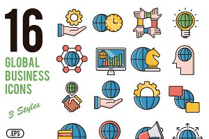 Global business vector icons