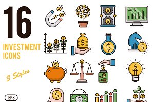 Investment vector icons set