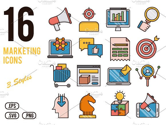 Marketing vector icons set