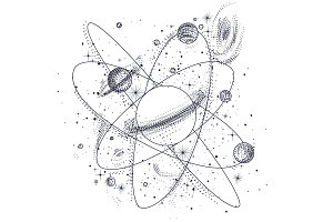 space, the universe. style engraving