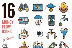 Money flow vector icons set
