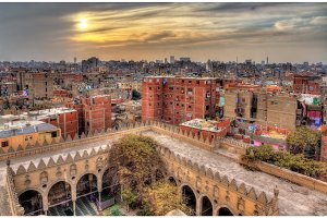 View of Cairo from roof of Amir al-Maridani mosque - Egypt
