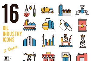 Oil industry vector icons set