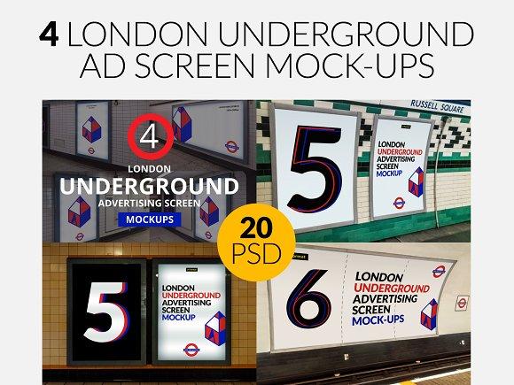 Free 4 London Underground Mock-Ups Bundle
