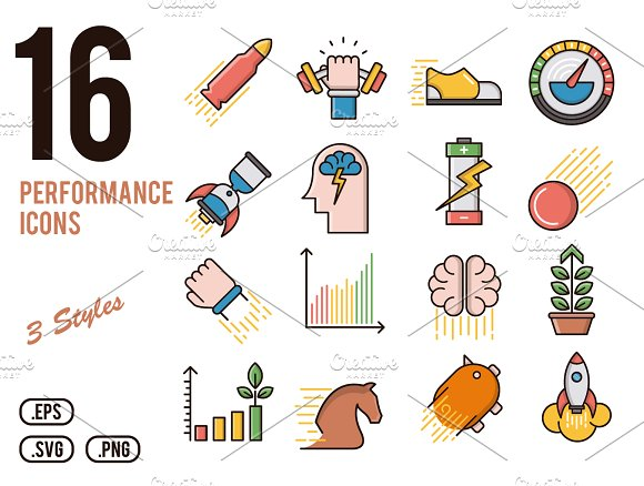 Performance vector icons set