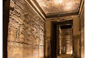 Ancient Egyptian wall carvings in Luxor Temple
