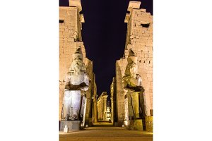 Ancient statues in Luxor temple - Egypt