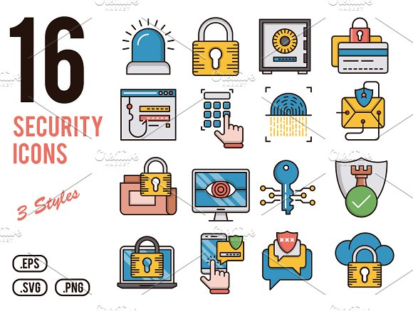 Security vector icons set