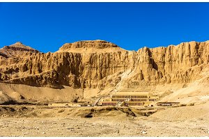 View of Deir el-Bahari, a complex of mortuary temples in Egypt