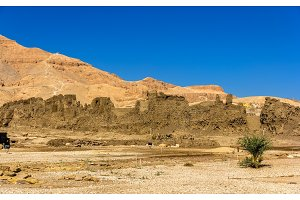 Walls of the Madinet Habu Temple on the West Bank of the Nile -