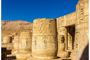 Ancient columns in the Medinet Habu Temple - Egypt