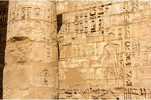 Ancient carvings in the Mortuary Temple of Ramses III. near Luxo