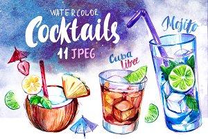 Cocktails. Watercolor set