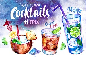Cocktails. Watercolor set