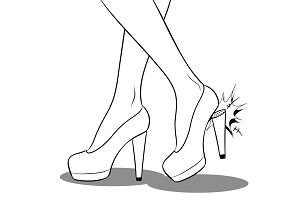 Woman broke heel on her red shoes coloring vector