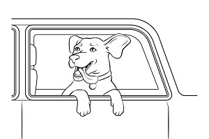 Dog in car window coloring vector illustration