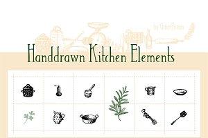 Handdrawn Kitchen Elements
