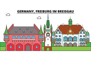 Germany, Freiburg Im Breisgau. City skyline, architecture, buildings, streets, silhouette, landscape, panorama, landmarks. Flat design line vector illustration concept. Isolated icons