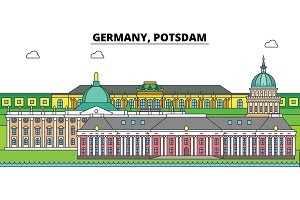 Germany, Postdam. City skyline, architecture, buildings, streets, silhouette, landscape, panorama, landmarks. Editable strokes. Flat design line vector illustration concept. Isolated icons