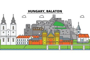 Hungary, Balaton. City skyline, architecture, buildings, streets, silhouette, landscape, panorama, landmarks. Editable strokes. Flat design line vector illustration concept. Isolated icons