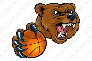 Bear Holding Basketball Ball