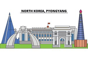 North Korea, Pyongyang. City skyline, architecture, buildings, streets, silhouette, landscape, panorama, landmarks. Editable strokes. Flat design line vector illustration concept. Isolated icons