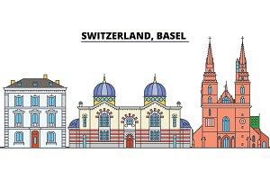 Switzerland, Basel . City skyline, architecture, buildings, streets, silhouette, landscape, panorama, landmarks. Editable strokes. Flat design line vector illustration concept. Isolated icons