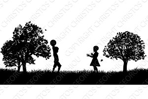 Children Playing in the Park Silhouette