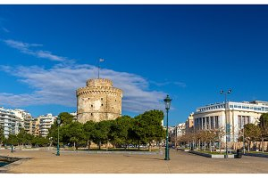 The White Tower and the National Theatre of Northern Greece in T