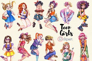 Teenage Girls Clipart