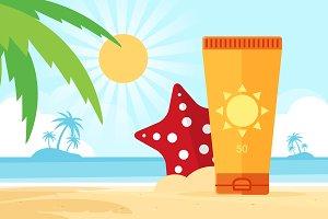 Sunscreen on beach
