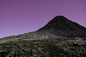 Panorama inside crater of Pico volcano and Piquinho pinnacle at sunset , Azores, Portugal