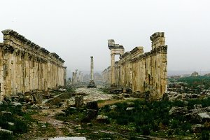 Great Colonnade Apamea in fog, partially destroyed Syria