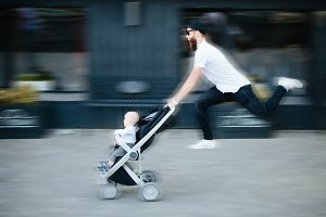 Father with a stroller